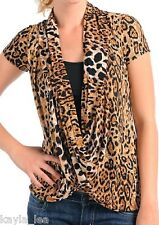 Brown/Tan Leopard Drape/Cowl Contrast Inset Cap Sleeves S/M/L *Also Black*