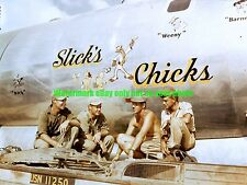 Boeing B-29 Bomber SLICK'S CHICKS Color Photo Military WW2 Tinian 1944
