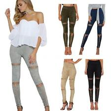 Sexy Women Skinny Faux Suede Stretchy Pants Leggings Jeans Pencil Trousers V9B0