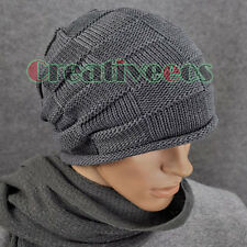 Men Women Plaid Slouchy Beanies Winter Fall Wool Hat Knit Baggy Skull Ski Cap
