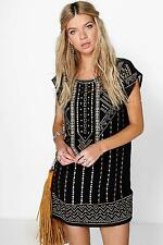 Boohoo Womens Boutique Ruth Embroidered Beaded Shift Dress