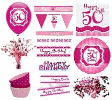 PERFECTLY PINK Girl Age 50 Happy 50th Birthday PARTY ITEMS Decorations Tableware
