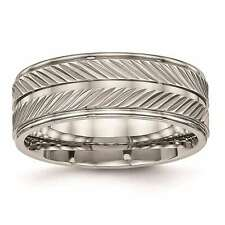 Chisel Titanium Polished Grooved 8mm Wedding Band Ring Size 7 to 13