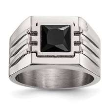 Mens Chisel Stainless Steel 13mm Brushed Polished Black CZ Ring Size 9 to 11