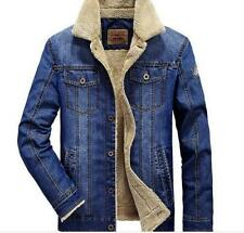 Fashion Mens Casual Fleece Lining Winter Warm Denim Coat Cowboy Jeans Jacket