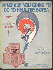 What Are You Going To Do To Help The Boys 1918 Uncle Sam WWI Vintage Sheet Music