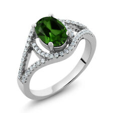 1.91 Ct Oval Green Chrome Diopside 925 Sterling Silver Ring