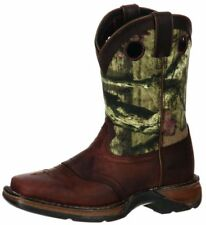 "Durango Western Boots Boys 8"" Kids Camo Saddle Leather Brown DBT0120"