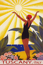 TUSCANY ITALY SUNSHINE BEACH GIRL SALUTING SUN SAIL TRAVEL VINTAGE POSTER REPRO