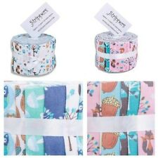 Woodland Animals 100% Cotton Collection Strips Jelly Roll Pink and Green
