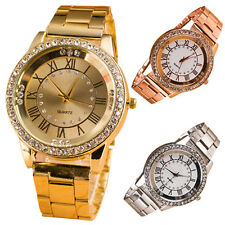 Men Women Rhinestone Roman Numerals Alloy Band Round Analog Quartz Watch Sturdy