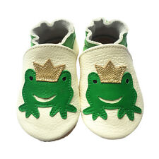 Lovely Frog Soft Sole Leather Baby Girl Boy Crib Shoes Toddler Indoor Play 0-24M