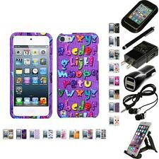 For Apple iPod Touch 5th 6th Gen Design Snap-On Hard Case Phone Cover Bundle