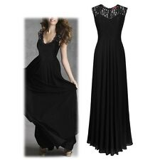 Vogue Women Lace Tulle Formal Party Prom Cocktail Wedding Gown Long Maxi Dress