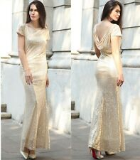 Bridesmaid Wedding Party Backless Sequins Long Dress Prom Formal Evening Gown