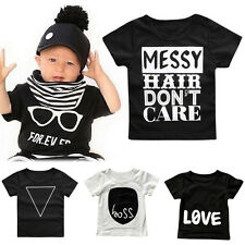 Kids Baby T Shirt Tops Short Sleeve Crew Neck Casual Tee Toddler Infant Cloth AS