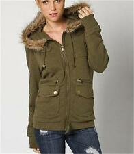 NEW O'Neill Tough Love Women's Fur Lined Hooded Fleece Jacket Olive