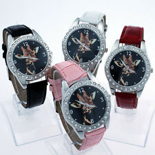 Fashion Boy Girls Animal Giraffe Dial Leather Quartz Crystal Wristwatch L12