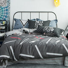Grey Quilt Doona Duvet Cover Set Queen/Double Size Bed 100%Cotton Pillowcases