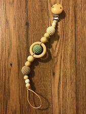 Baby Wooden Natural Dummy Clip Teether Hand Made Baby Gift