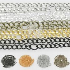 "1/5/10pcs Ring Necklace Curb Chain 50cm/20"" Connector Jewelry 3mm/4.5mm Lots"