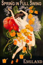ENGLAND SPRING IN FULL SWING GIRL DANCING FLOWERS TRAVEL VINTAGE POSTER REPRO