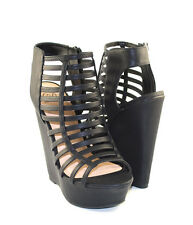 Black Leatherette Sexy Cutie Tall Ankle Height Caged Gladiator Wedge Sandals
