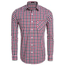 Men Fashion Slim Long Sleeve Plaid Button Down Casual Shirts ED01
