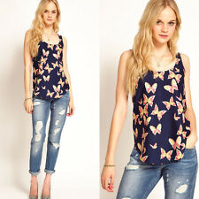 Lady's Summer Vest Casual Butterfly Tank Tops Chiffon Bottoming Sport T-Shirt