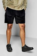Boohoo Mens Raw Edge Velour Shorts