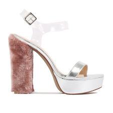 Womens Buckled Chunky Block Ankle Strap Platform Chunky Block Heel in Silver 3-8