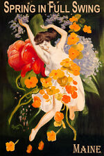MAINE SPRING IN FULL SWING GIRL DANCING WITH FLOWERS TRAVEL VINTAGE POSTER REPRO