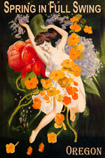 OREGON SPRING IN FULL SWING GIRL DANCING FLOWERS TRAVEL VINTAGE POSTER REPRO