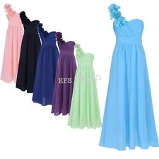 Girls Chiffon One-Shoulder Flower Girl Dress Princess Pageant Wedding Bridesmaid