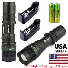 2 Sets 10000LM Tactical LED Flashlight Torch Zoomable 18650 Battery Charger USA