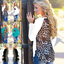 Womens Chiffon Long Sleeve T-Shirt Sexy Leopard Print Ladies Shirt Tops Blouse