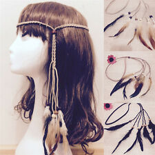 Hippie Indian Feather Headband Handmade Weave Feathers Hair Rope Headdress HF
