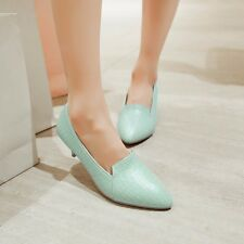 Women's Synthetic Leather Med Kitten Heels Pointed Toe Pumps Shoes Plus Size