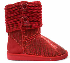 Sequin Crochet Slouchy Knit Sweater Button Flat Boot Red