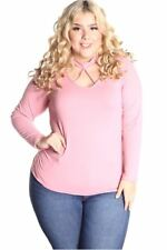 121AVENUE Gorgeous Ruched Side Top 2X 3X Women Plus Size Pink Career