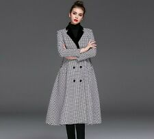 Long swing A line  double breasted Houndstooth wool coat  plus1x-10x (16-52)G423