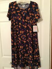NEW Lularoe Carly Dress Size S Beautiful Flowers Floral Navy Blue Purple Easter