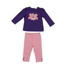 "Quiltex Girls 2 Piece Purple ""Peek-a-boo!"" Printed Top and Pink Pant Set"