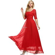 ANGVNS Elegant Women Square Neck Short Sleeve High Waist Full Gown Lace B20E