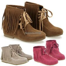 Women Tassels Lace UP Flat Ankle Shoes Boots Girls 4 Sizes ED01