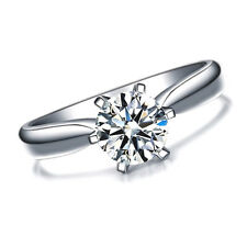 Lab Created AAA CZ Ring 1 Carat Brilliant Cut round single 18K White Gold Plated