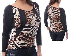 Black/Brown Leopard/Tiger/Zebra Animal Print Inset Top S