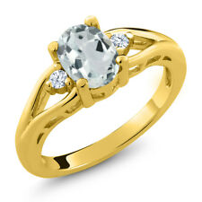 1.16 Ct Oval Sky Blue Aquamarine 18K Yellow Gold Plated Silver Ring