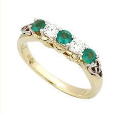 14ct Gold, Diamond and Emerald Ladies Celtic Trinity Knot Eternity Claddagh Ring
