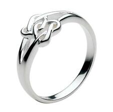 New Solid Silver Irish Celtic Double Lovers Heart Knot Ring Celtic Jewellery